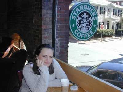 My girlfriend at Starbucks, Cambride, MA in 2000